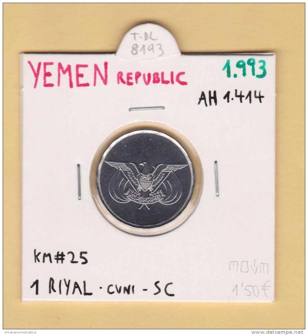 YEMEN REPUBLIC  1  RIYAL  1.993  AH  1414  CU NI  KM#25  SC/UNC   T-DL-8193 - Yemen
