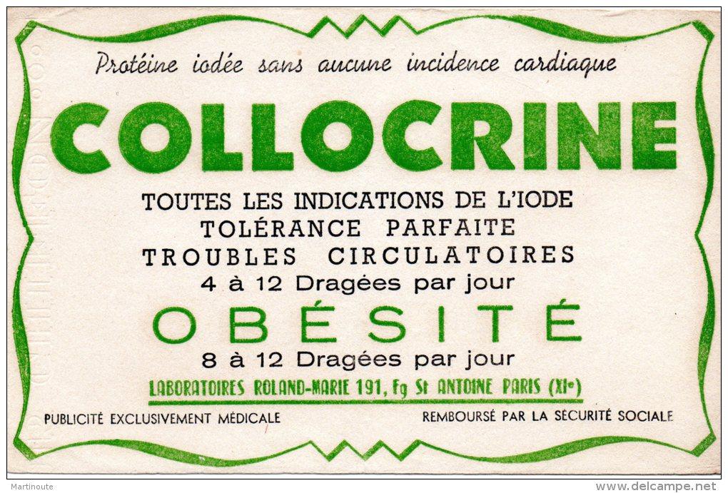 - BUVARD  Dragées COLLOCRINE - Pli Au Centre - 180 - Produits Pharmaceutiques