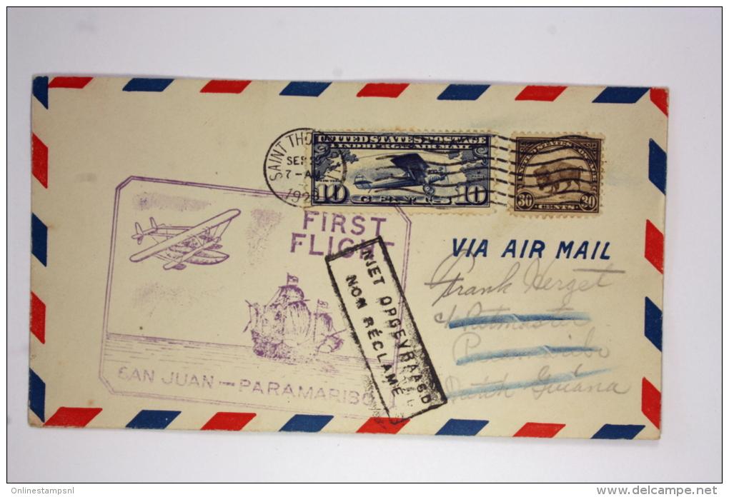 Suriname: Airmail Cover 1929 First  FlightSan Juan To Paramaribo 1929, Box With Non Reclamé, Lindbegh Panam AAMC 56 - Suriname ... - 1975