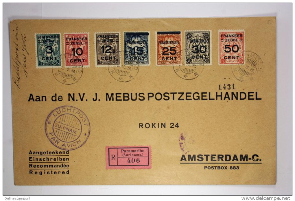 Suriname: Registered Airmail Cover 1929, Paramaribo Amsterdam, NVPH 130-136 Complete Set - Suriname ... - 1975
