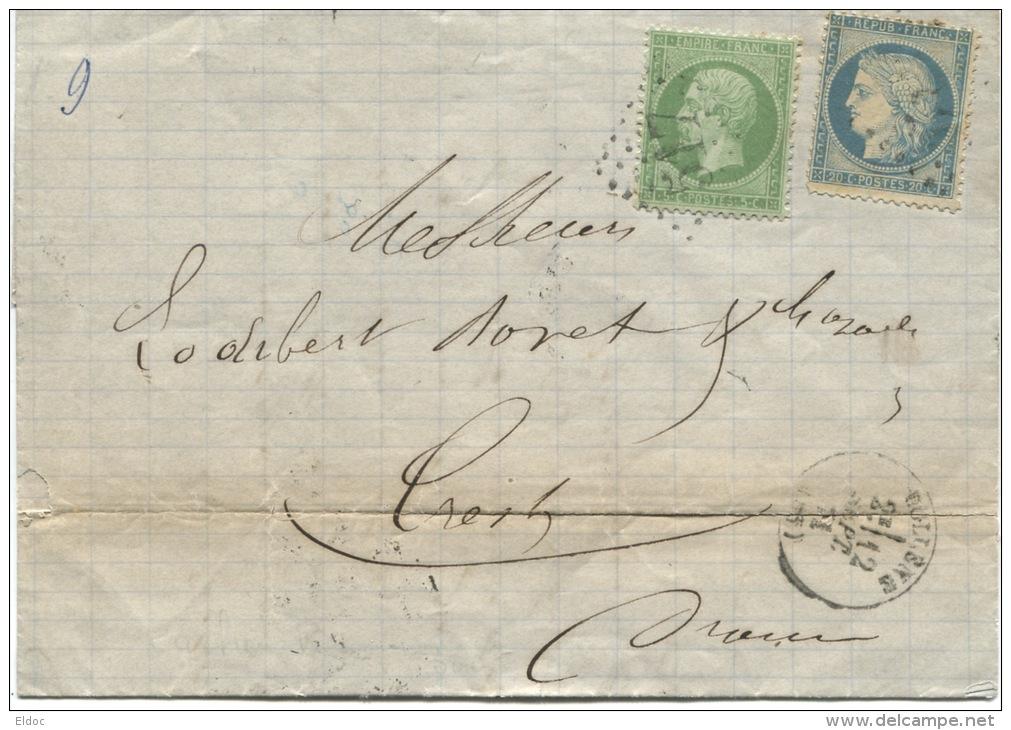 BOLLENE (Vaucluse): Cachet à Date Type 16 + Gros Chiffres Sur N° 20 + 37. Affranhissement De Septembre 71. - 1849-1876: Période Classique