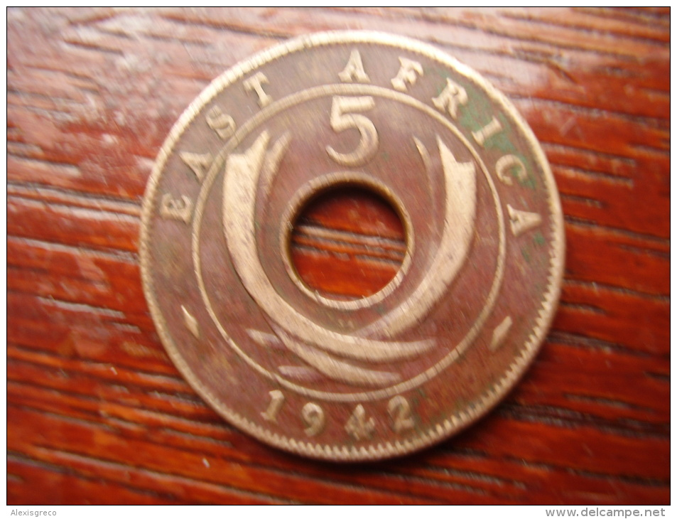 BRITISH EAST AFRICA USED FIVE CENT COIN BRONZE Of 1942 (SA) - British Colony