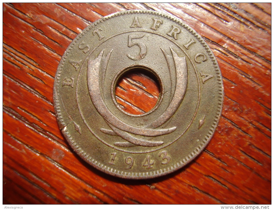 BRITISH EAST AFRICA USED FIVE CENT COIN BRONZE Of 1943 SA. - British Colony