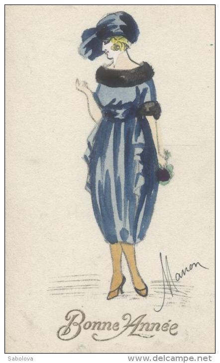 Manon Carte Art Nouveau élégante Peinte à La Main Original - Illustratori & Fotografie