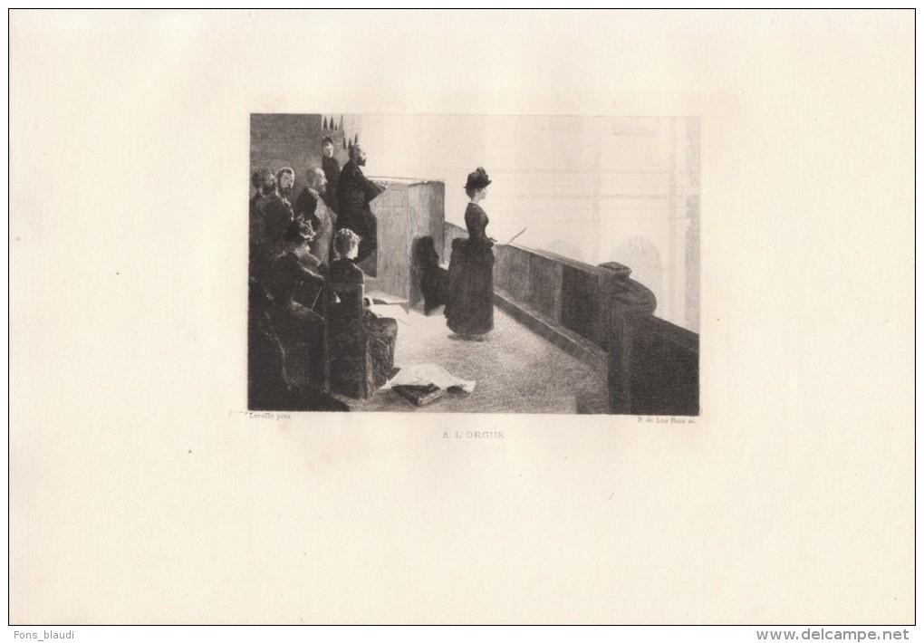 A L'orgue - Eau-forte De Los Rios D´après Un Tableau De Henry LEROLLE 1885 - Estampes & Gravures