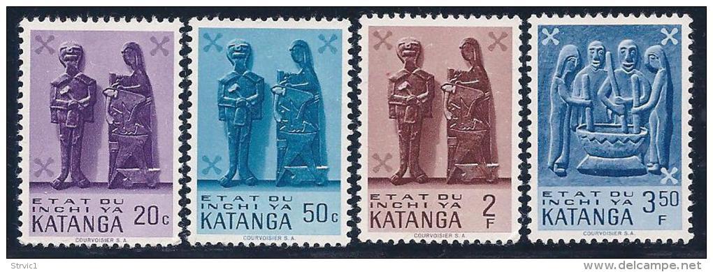 Katanga, Scott #53- 54,56-7 MNH  Wood Carvings, 1961 - Katanga