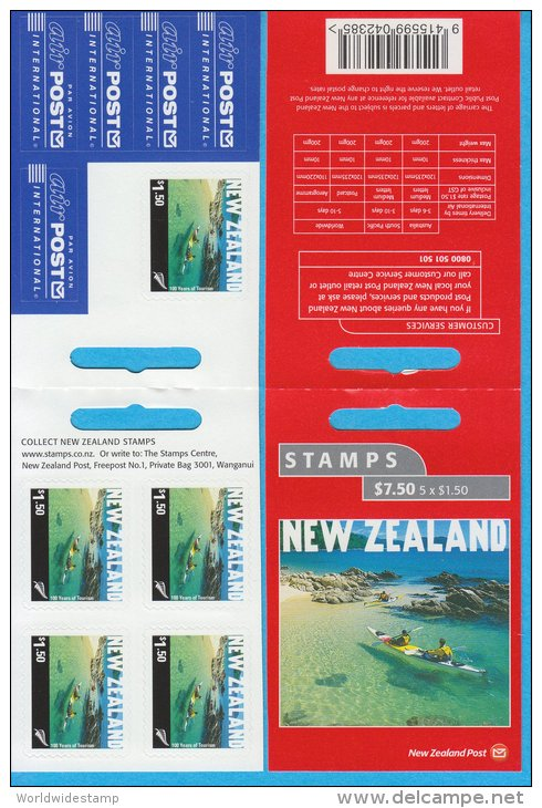 New Zealand Stamp Booklet: 2001 Tourist Attraction $1.50 Kayakers In Abel Tasman National Park $7.50 NZ137014 - Booklets