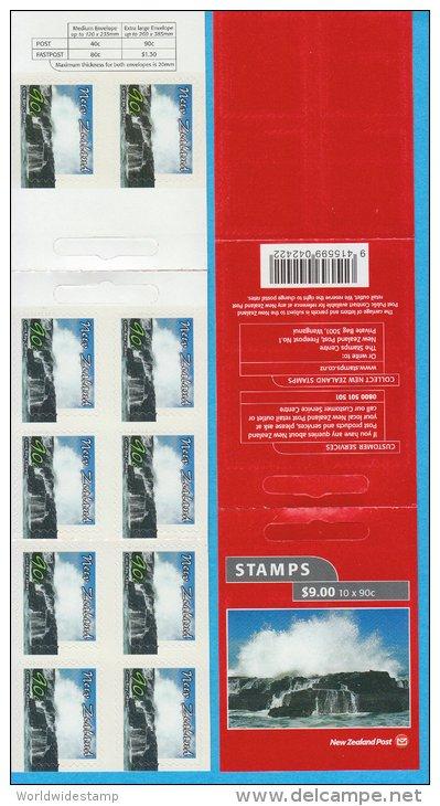 New Zealand Stamp Booklet: 2002 Scenic Coastlines 90c Curio Bay, Catlins, $9.00 NZ137015 - Booklets
