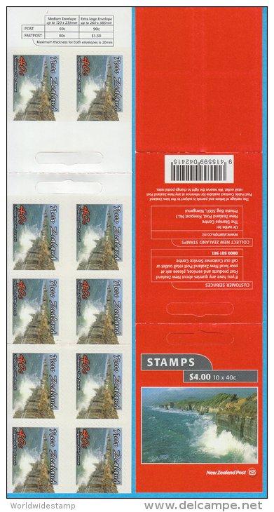New Zealand Stamp Booklet: 2002 Scenic Coastlines 40c Tongaporutu Cliffs, Taranaki, $4.00 NZ137017 - Booklets