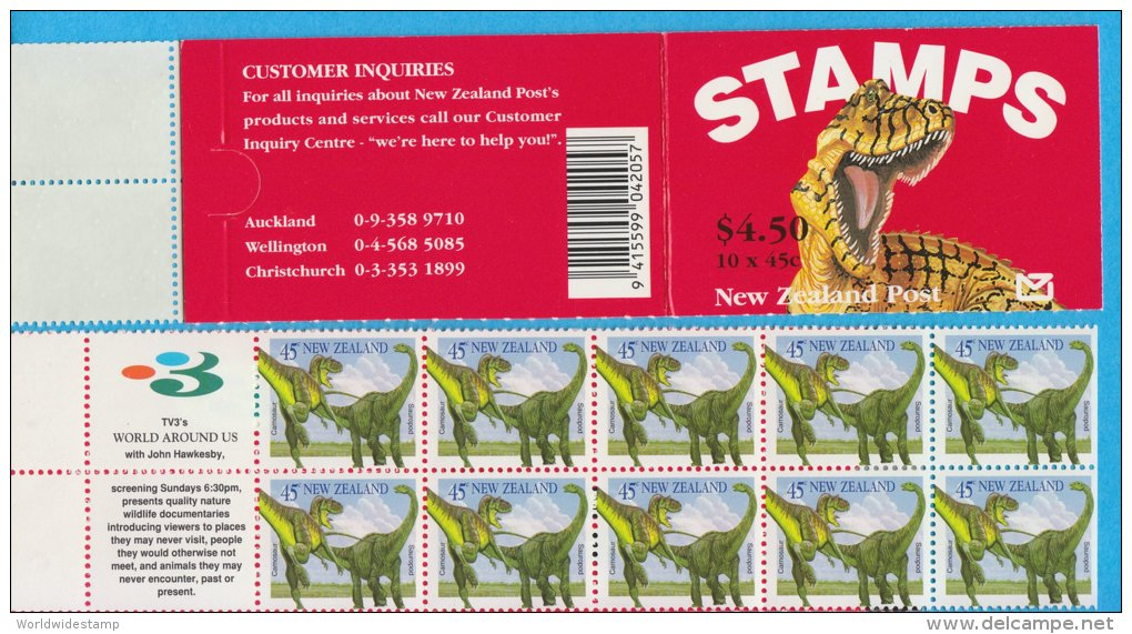 New Zealand Stamp Booklet: 1993 Dinosaurs, $4.50 NZ137021 - Booklets
