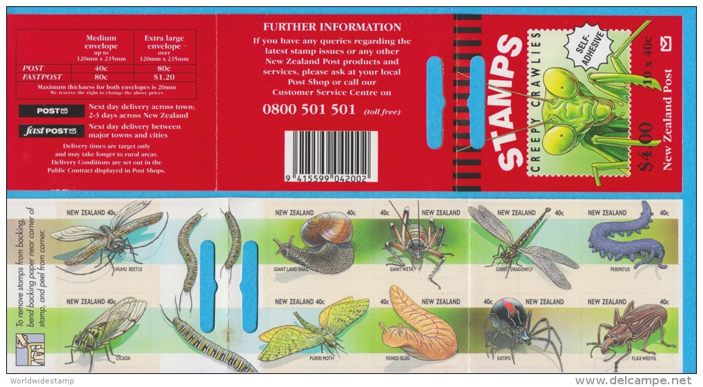 New Zealand Stamp Booklet: 1997 Creepy Crawlies Insect, $4.00 NZ137023 - Booklets