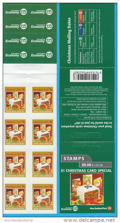 New Zealand Stamp Booklet: 2004 Christmas $1.00 International Rate $8.00 NZ137025 - Booklets