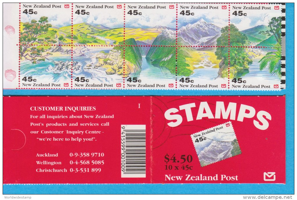 New Zealand Stamp Booklet: 1992 Scenic View Of New Zealand $4.50, NZ137027 - Booklets