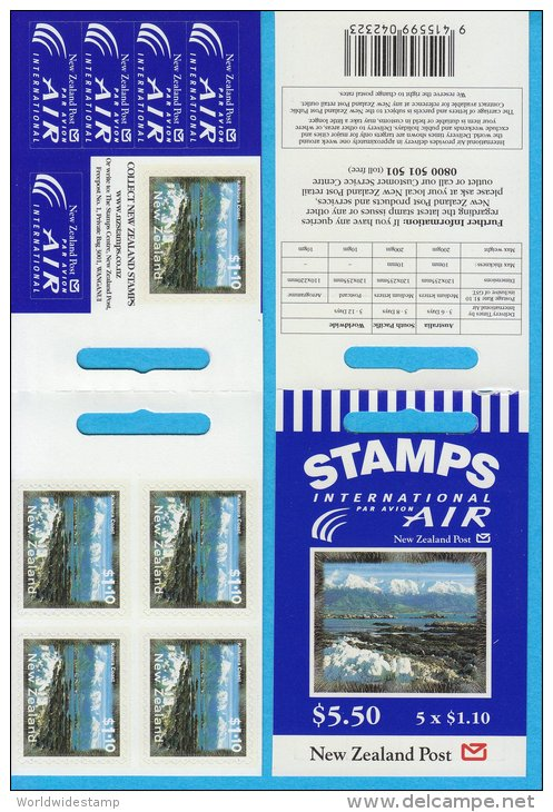 New Zealand Stamp Booklet: Scenic Coastlines $1.10 Kaikoura Coast, $5.50, NZ137028 - Booklets