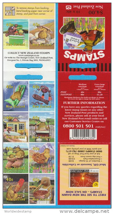 New Zealand Stamp Booklet: 2000 Kiwiana II Popular Culture, $4.00, NZ137030 - Booklets