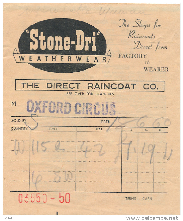 STONE-DRI, WEATHERWEAR (1960), The Shops For Raincoats - Direct From Factory To Wearer, Oxford Circus - United Kingdom