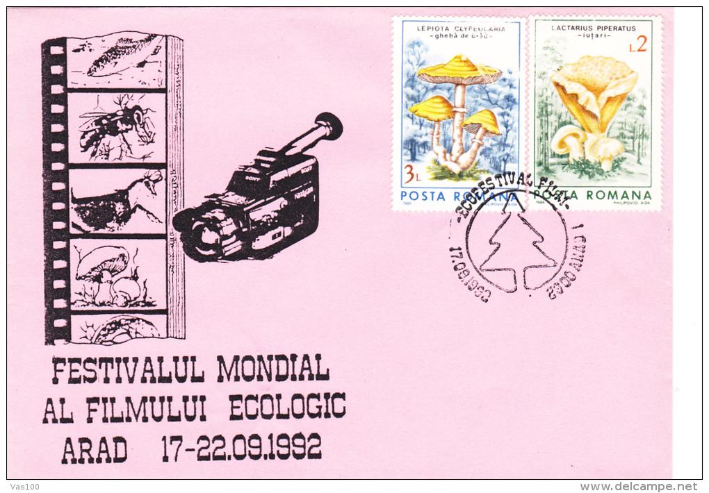 ECOLOGICAL FESTIVAL AT MOVIE,ARAD,COVER FDC,1992, ROMANIA - Cinema
