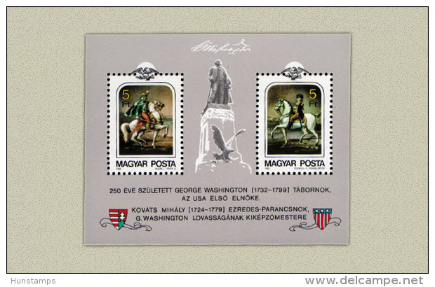 Hungary 1982. George Washington USA Preseident Sheet MNH (**) Michel: Block 158A / 4 EUR - Ungebraucht