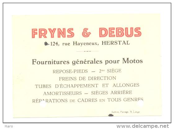 Carte De Visite - Fourniture Pour Moto - Fryns & Debus Constructeur  à Herstal  1934 - Liège (b120) - Cartes De Visite