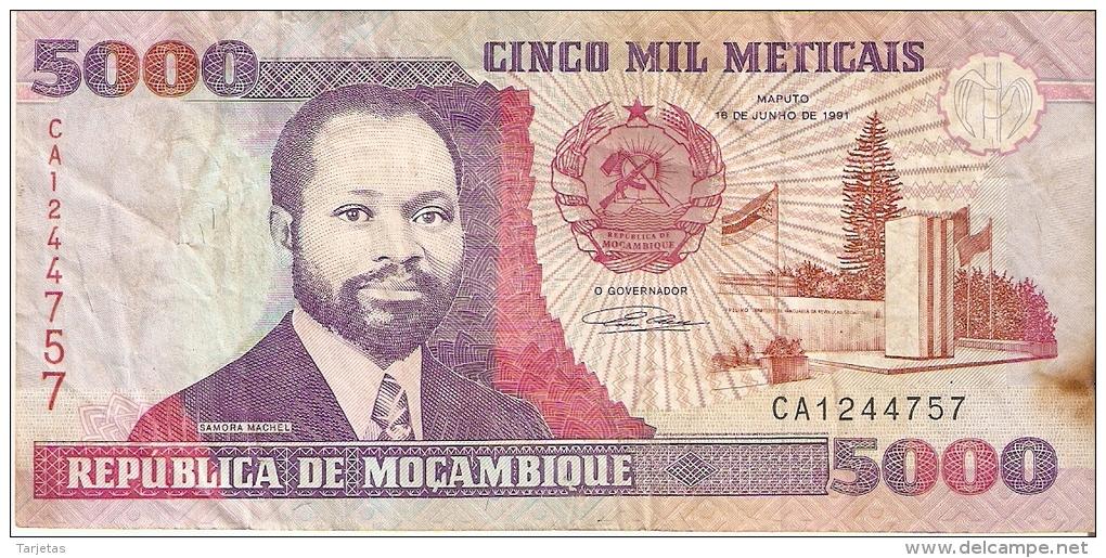 BILLETE DE MOZAMBIQUE DE 5000 METICAIS DEL AÑO 1991 (BANKNOTE) - Mozambico