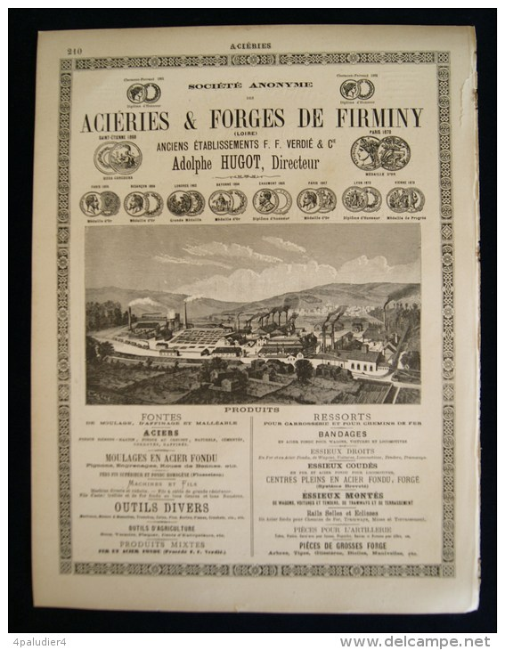 FORGES & ACIERIES ALFRED NANCON ALBERT ( Somme)  ACIERIES & FORGES DE FIRMINY ( Loire) 1894 - Advertising