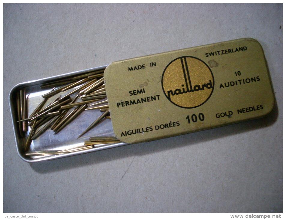 Scatola/scatoletta In Latta Puntine Grammofono. Gold Needles PAILLARD Semi Permanent. Switzerland - Altri Oggetti
