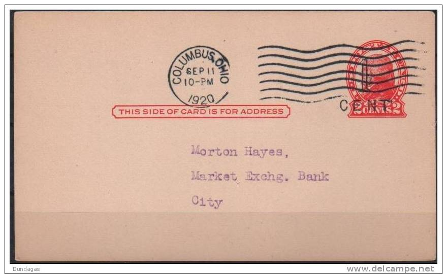 USA - POSTCARD 1 CENT ON 2 CENTS 1920 Sc #UX31 - 1901-20