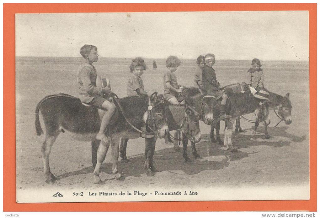 J241, Les Plaisirs De La Plage , Promenade à Ane, Enfants , 3012, Très Animée, Non Circulée - Ezels