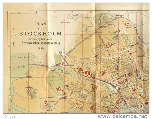 Schweden 1899-1900,  Sweden, Travel Guide Of The Swedish Tourist Association, Stockholm, + 36 Maps, 42 X 45 - Svizzera