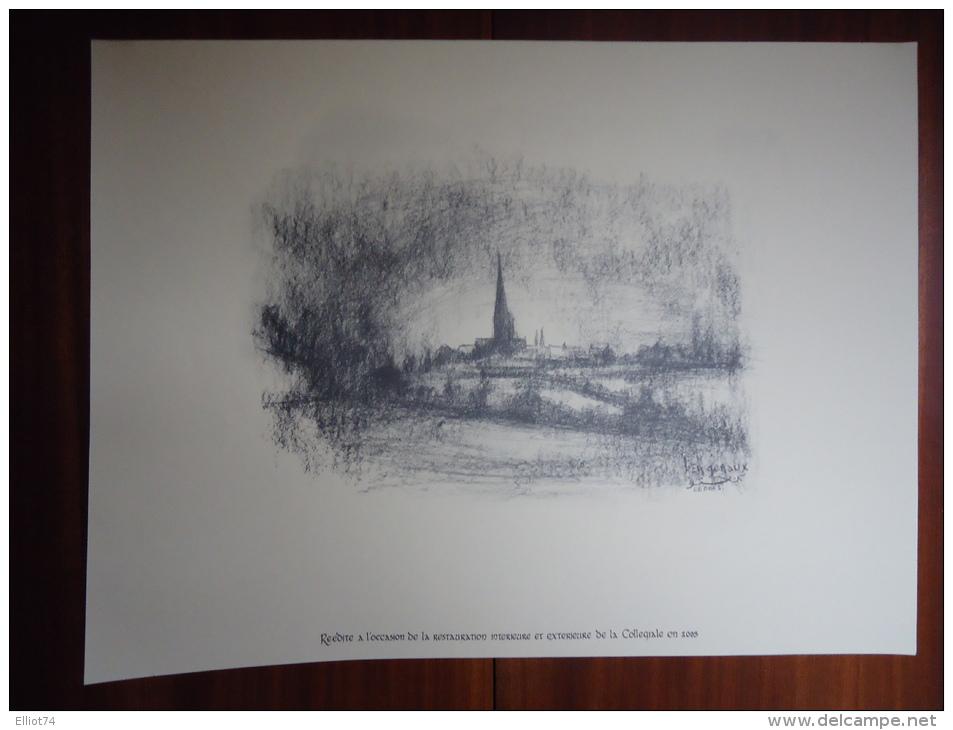 LOBBES - LA COLLEGIALE - LA PORTELETTE - LITHOGRAPHIES (4) DE BEN GENAUX - REEDITION DE 2003 - Other Collections