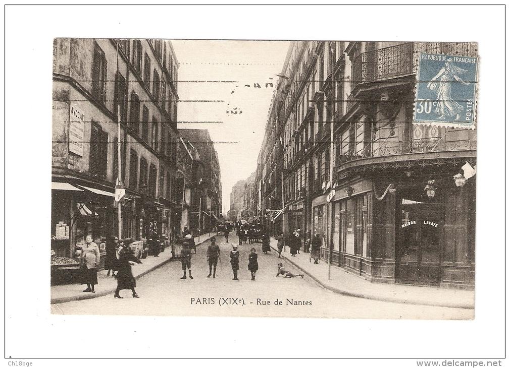 CPA : 75019 - Paris : Rue De Nantes : Animation , Magasins , Immeubles ... - Arrondissement: 19