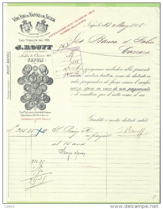 1905-FATTURA  PUBBLICITARIA-NAPOLI-J.ROUFF-VINI FINI DI NAPOLI EDI  SICILIA - Italy