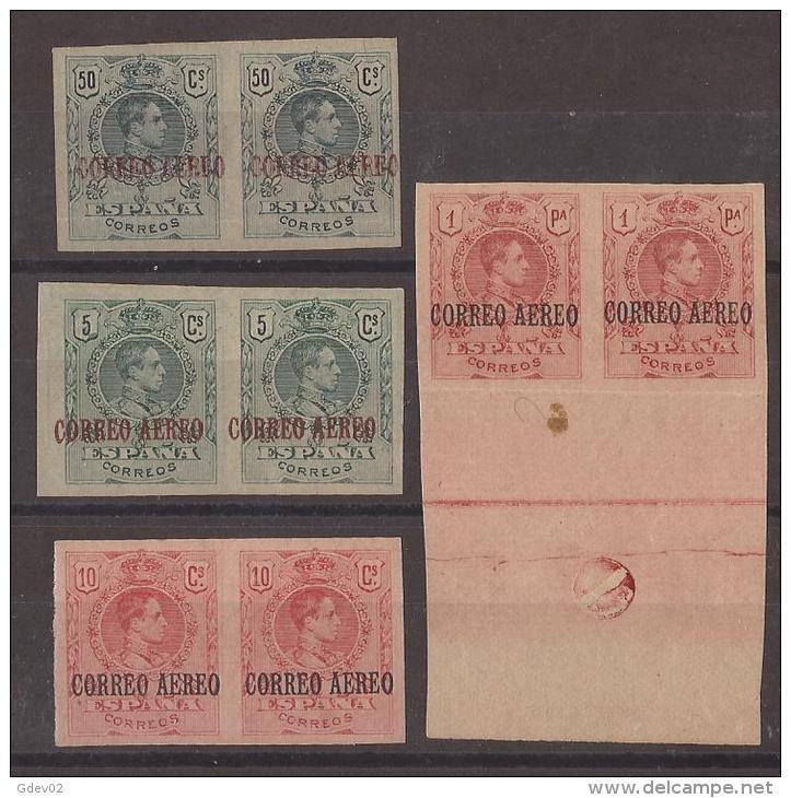 ES292-L2117TA.VARIEDAD B.H.España.Spain.Espagne. Aereo.ALFONSO   Xlll.Pelon.1920..(Ed 292/6**/* Par) S/d,. - Aéreo