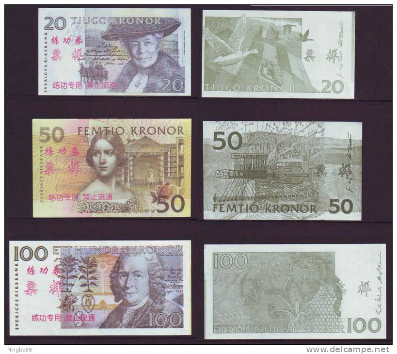 (Replica)China BOC Bank Training/test Banknote,SVERIGES RIKSBANK Sweden Kronor 5 Different Note Specimen Overprint - Sweden