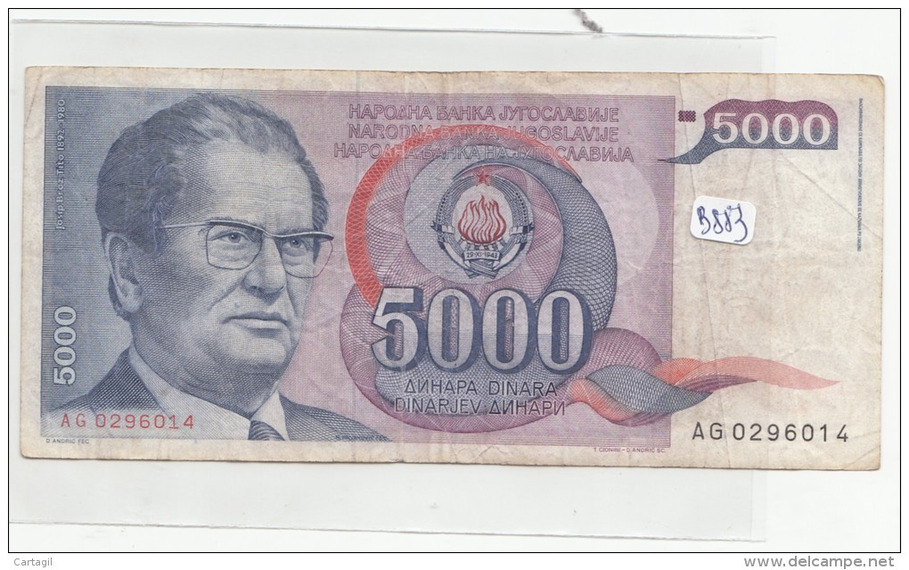 Billets - B883 - Yougoslavie   - Billet 5000 Dinara 1985 ( Type, Nature, Valeur, état... Voir 2scans) - Yugoslavia