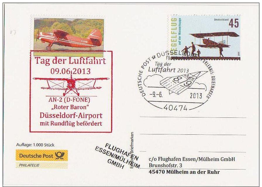 """Vol/Flight/Volo/ Sonderflug """"Tag Der Luftfahrt 9.6.2013, Düsseldorf, Mit Antonov-2,Sonderkarte Der Deutschen Post - Avions"""