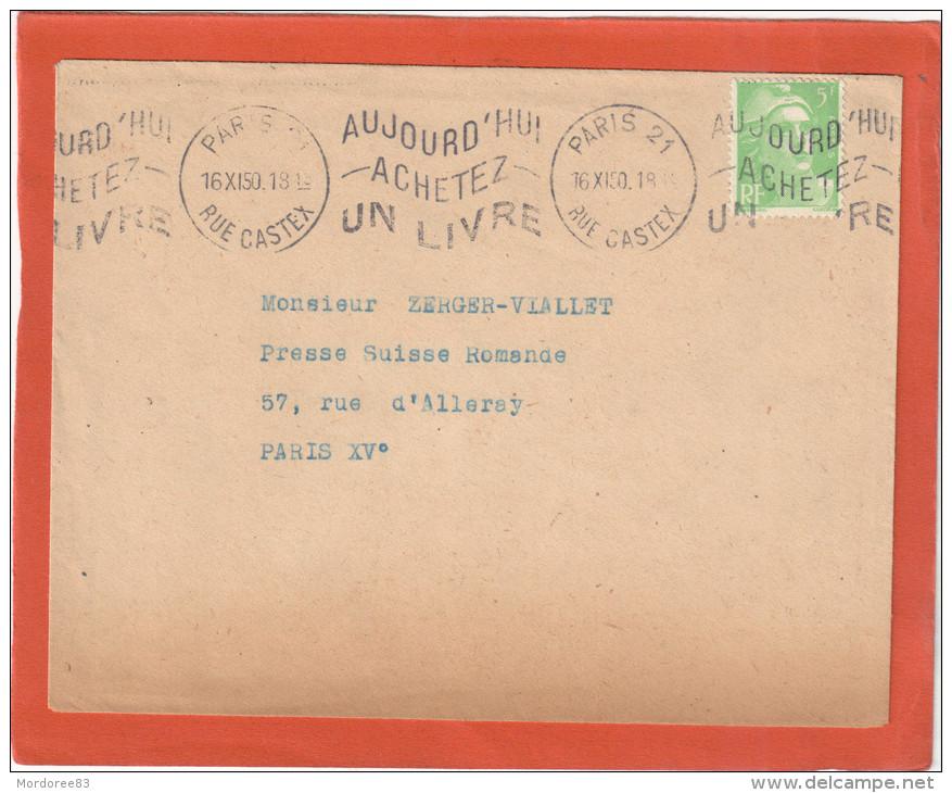 DISPERSION ARCHIVE EDMOND HENRI ZEIGER VIALLET PARIS 16/11/1950 GANDON 5F SEUL SUR LETTRE - Marcofilia (sobres)