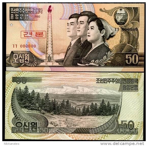 NORTH KOREA 50 WON 1992 P 42 S SPECIMEN 0* UNC - Corée Du Nord