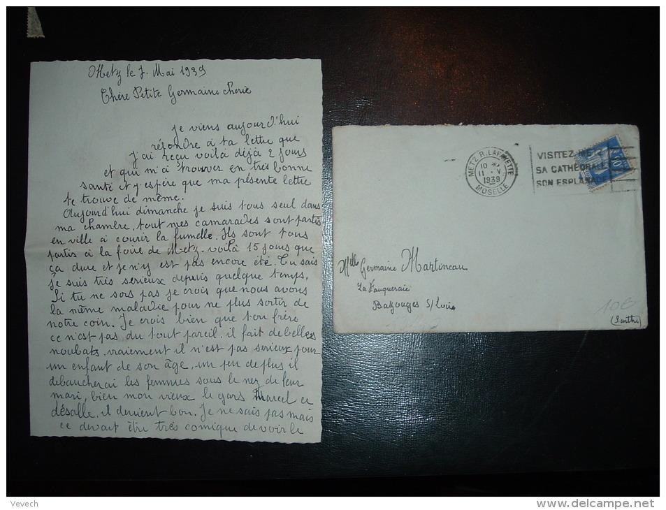 LETTRE TP PAIX 90C OBL.MEC. 11 V 1939 METZ R.LAFAYETTE (57 MOSELLE) + DESSIN 30EME DRAGONS 4E ESCADRON METZ - Guerre De 1939-45