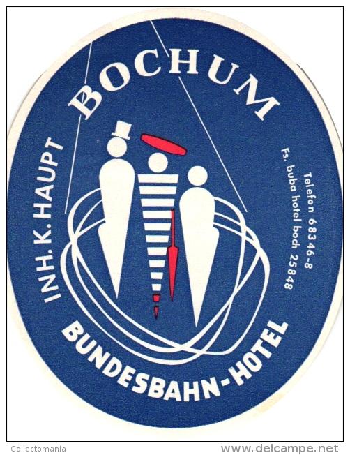 10 Hotel Labels , Etiketten Eutschkand Duitsland Germany   Huss  Lahn Bochum Bernkastel Mosel Iserlohn -adenweiler Baden - Hotel Labels