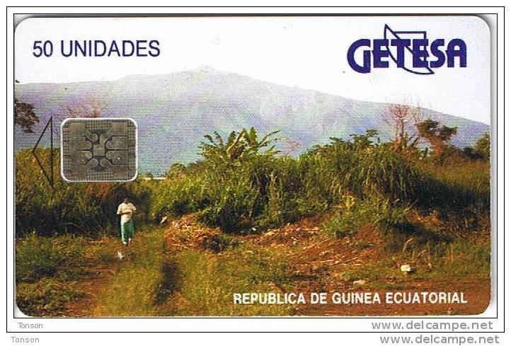 Equatorial Guinea, EQG-04, 50units, Landscape - Reverse A, Black Text, 2 Scans.  Chip : SC5, CN : 42336 - Equatorial Guinea