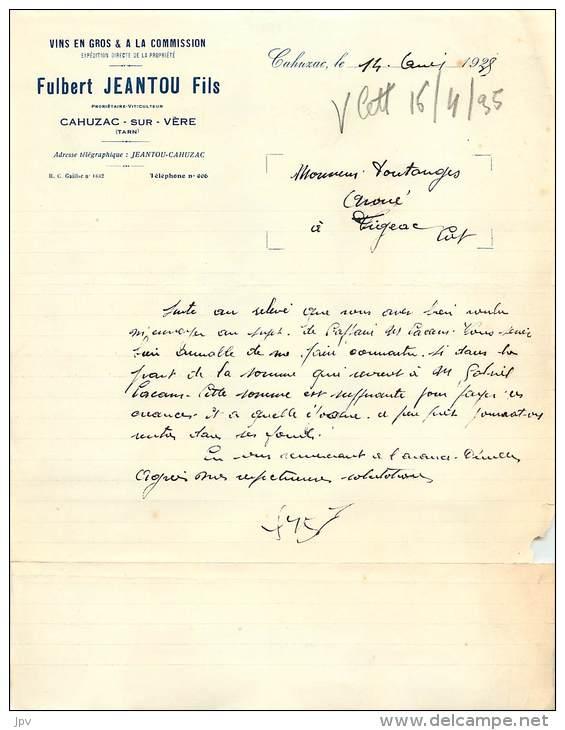 LETTRE FACTURE : CAHUZAC SUR VERE . FULBERT JEANTOU Fils . VINS EN GROS . 1935 . - Frankrijk