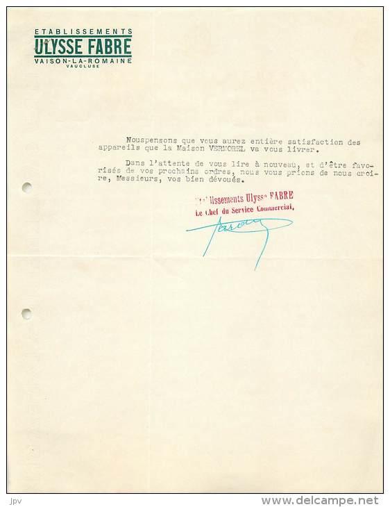LETTRE FACTURE : VAISON LA ROMAINE . ETS ULYSSE FABRE . MANUFACTURE INSTRUMENTS VITICOLES . 1939 . - Frankrijk