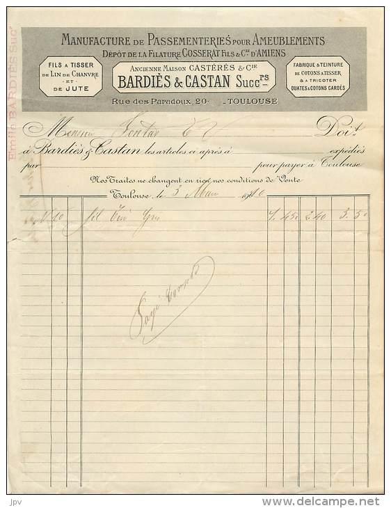 LETTRE FACTURE : TOULOUSE . BARDIES & CASTAN . MANUFACTURE DE PASSEMENTERIES POUR AMEUBLEMENTS. 1910 . - Frankrijk
