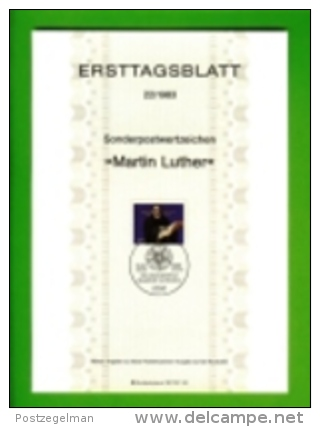GERMANY, 1983, Ersttagblatt Nr 22,  Martin Luther - [7] Federal Republic