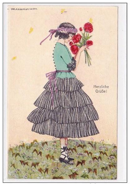 Köhler Mela(nie), Dame, Mode, Blumen, Fleurs, Litho, Ca. 1920   ***75303 - Koehler, Mela