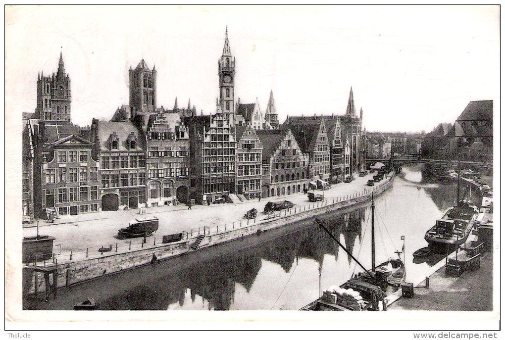 """Publicité-Chocolat Martougin-Gent- Gand-Graslei-Quai Aux Herbes-péniche-camion- Flamme """"Foire De Bruxelles 1952"""" - Werbepostkarten"""