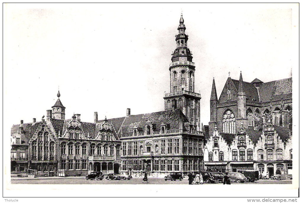 Publicité-Chocolat Martougin-Veurne-Furnes-Markt-Grand´ Place-Animée- Oldtimer-Vintage Cars - Werbepostkarten