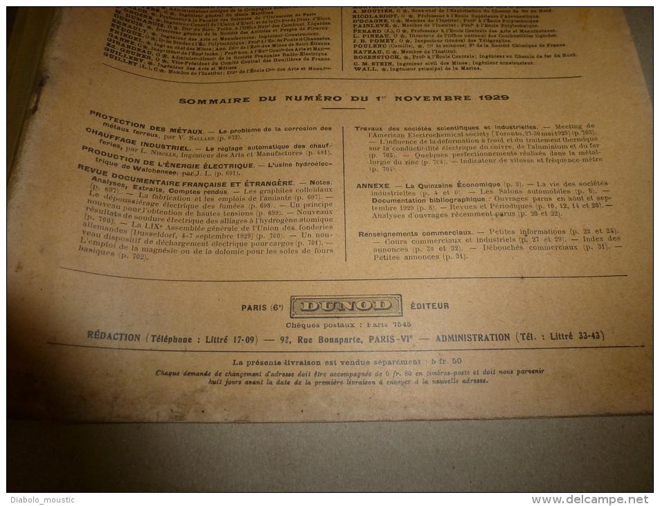 1er Novembre 1929  LA TECHNIQUE MODERNE  Et : Une Locomotive De Madagascar;L'usine De WALCHENSEE; Dispositif De Décharg - Livres, BD, Revues