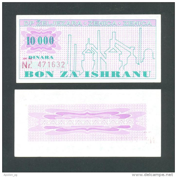 BOSNIEN UND HERZEGOWINA - BOSNIA,Top UNC! 10000 Dinara ND1992,IRON-WORKS - ZENICA, FOOD PURCHASING COUPON - Bosnia And Herzegovina